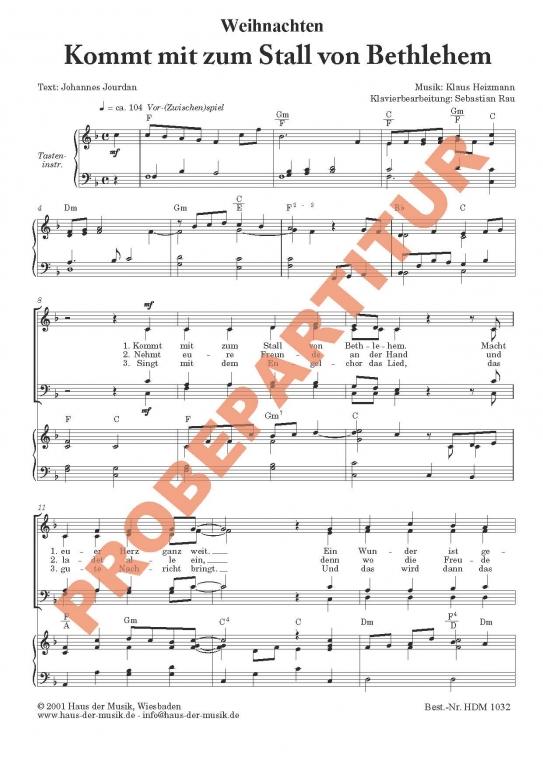 Kommt mit zum Stall von Bethlehem (Partitur - Chorsatz mit  Klavierbegleitung)