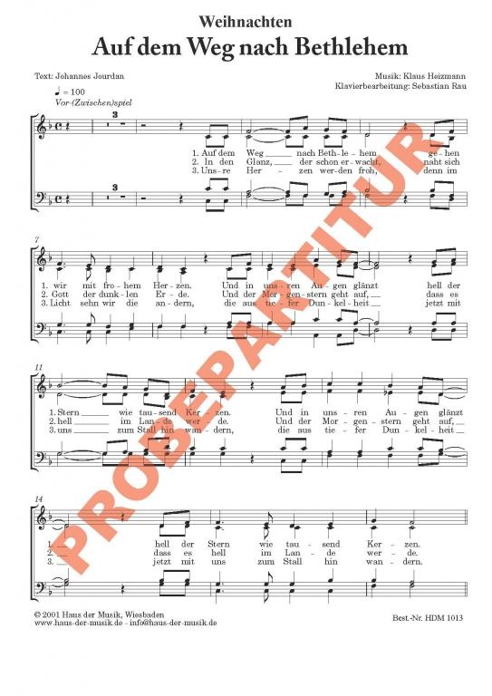 Auf dem Weg nach Bethlehem (Chorpartitur GCh)