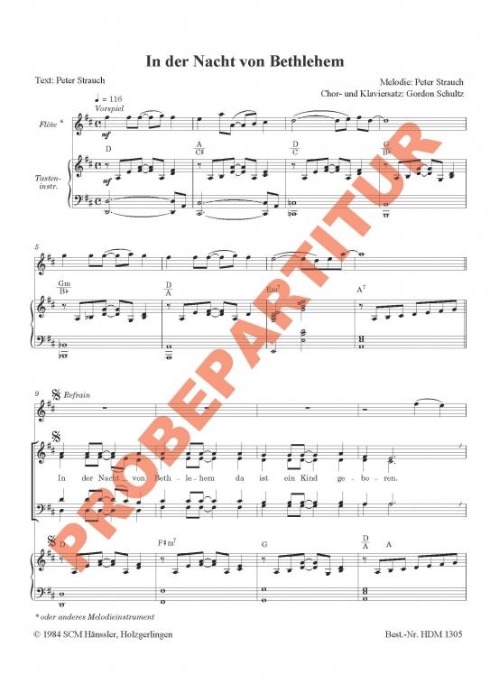 In der Nacht von Bethlehem (Klavierauszug)