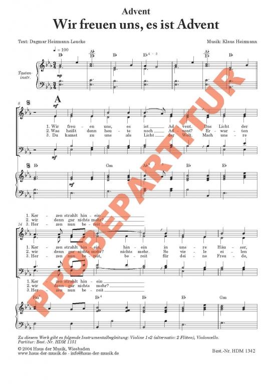 Wir freuen uns, es ist Advent (Klavierauszug)