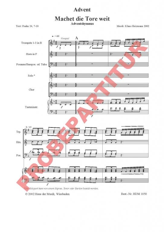 Machet die Tore weit (Fassung 2002) (Partitur - Chorsatz mit Klavierbegleitung, 3 Trompeten in B, Horn in F und 3 Posaunen