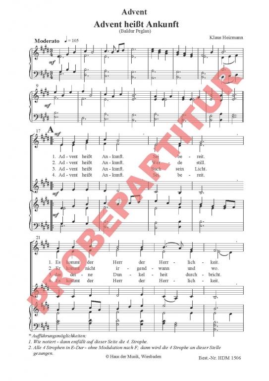 Advent heißt Ankunft (Klavierauszug FCh)