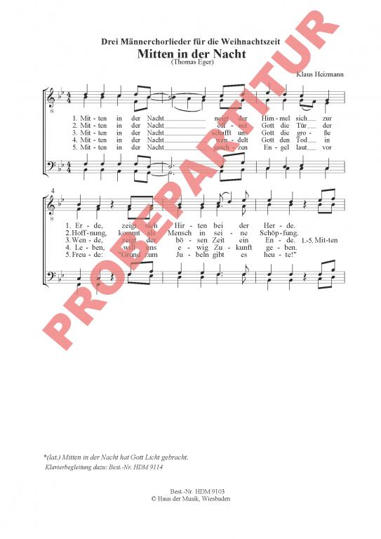 Drei neue Weihnachtslieder für Männerchöre - (Chorpartitur)